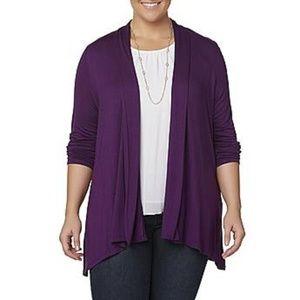 Purple Cardigan w/Handkerchief Hem, Sz 2X - NWT